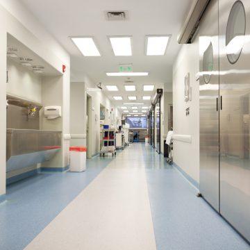 Long empty hospital corridor